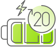 20 day battery life icon